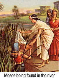 Judaism: Moses being found by Eqyptian princess
